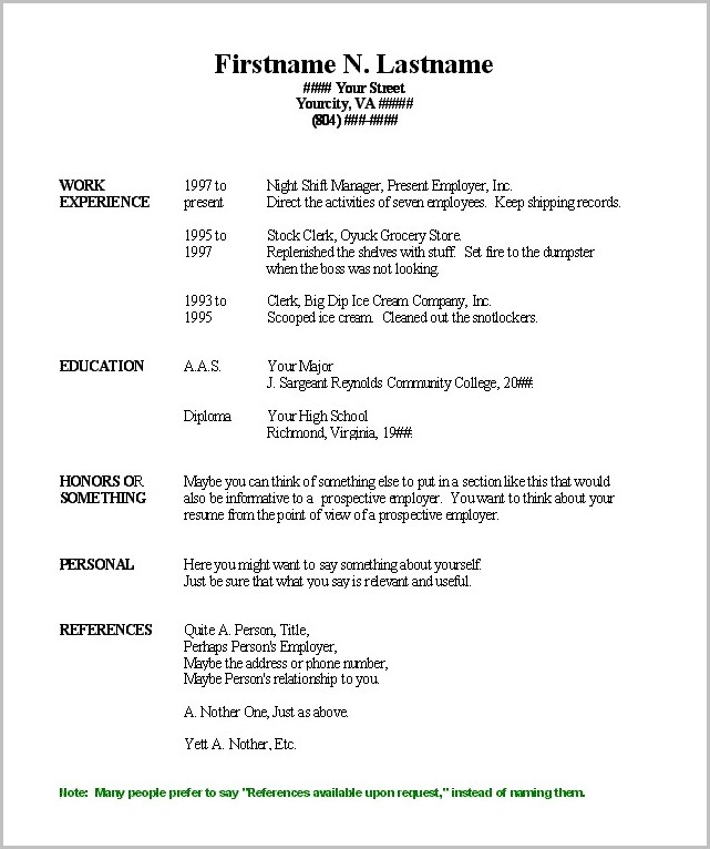 Word Template For Simple Resume