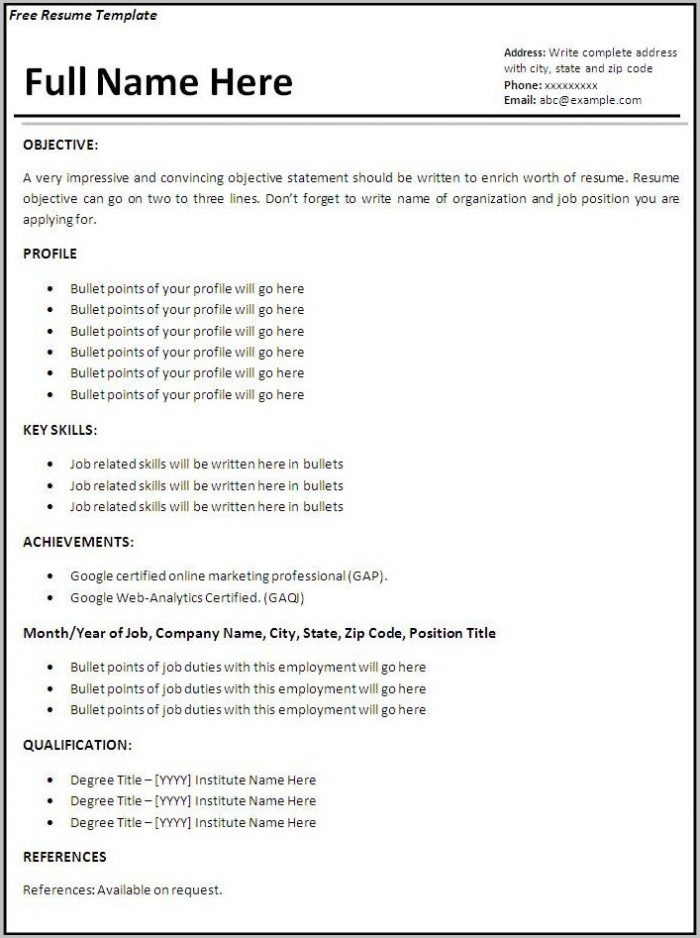 Word Template Job Resume