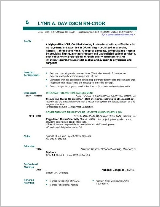 Word Template Nursing Resume