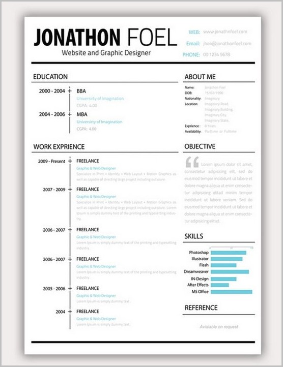 Word Template Resume Creative