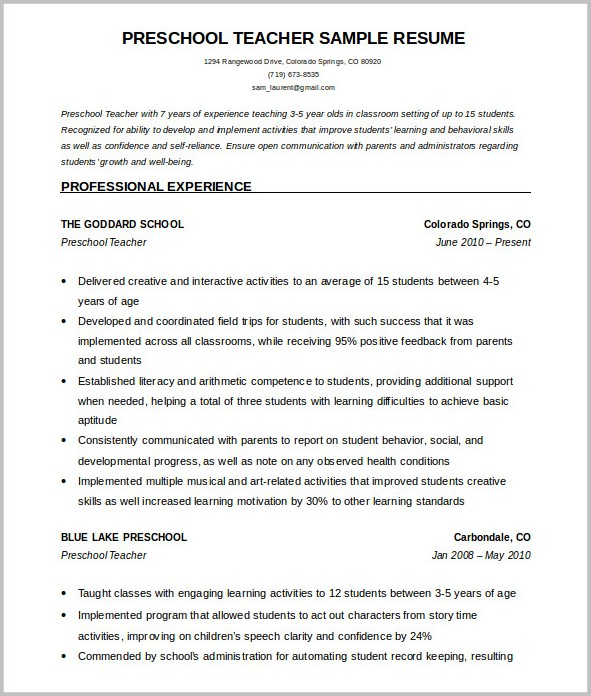 Word Template Teacher Resume