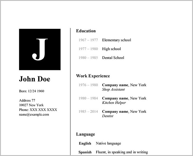 Word Templates Resume For Mac