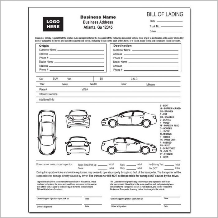 Automobile Bill Of Lading Template