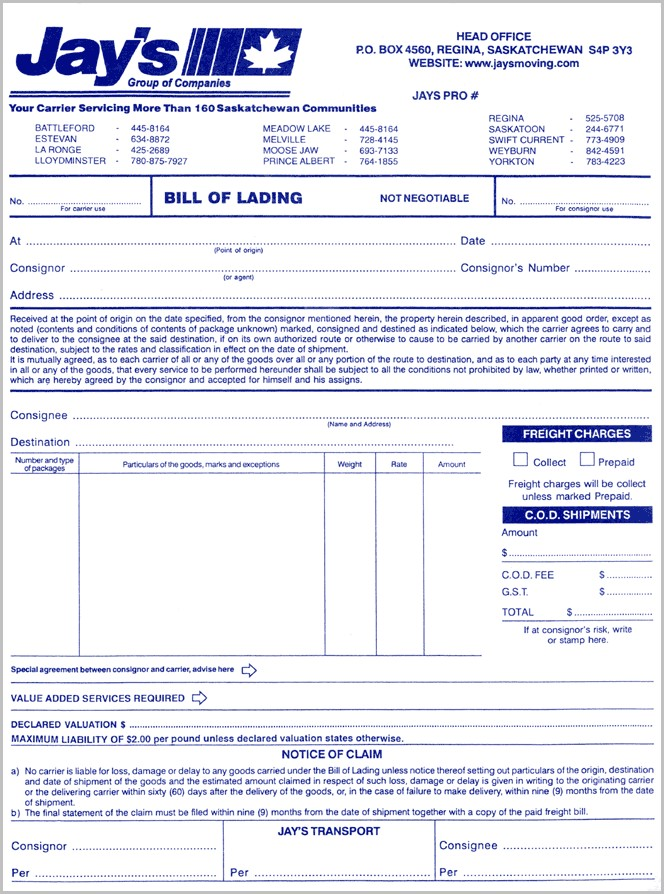 Bill Of Lading Form Malaysia