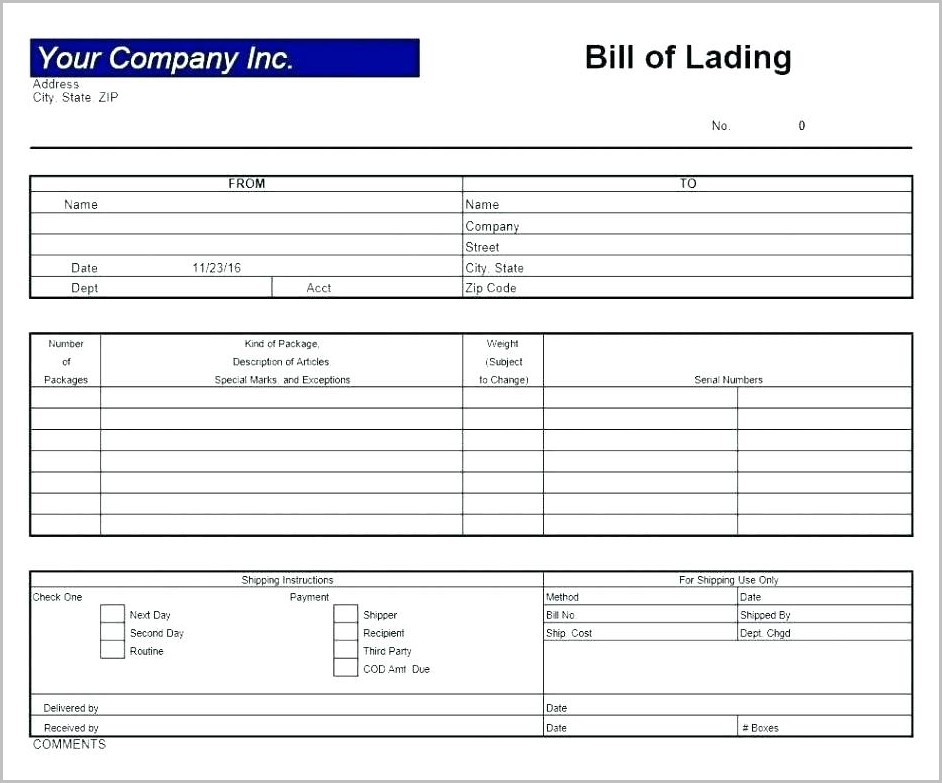 Bill Of Lading Format Excel