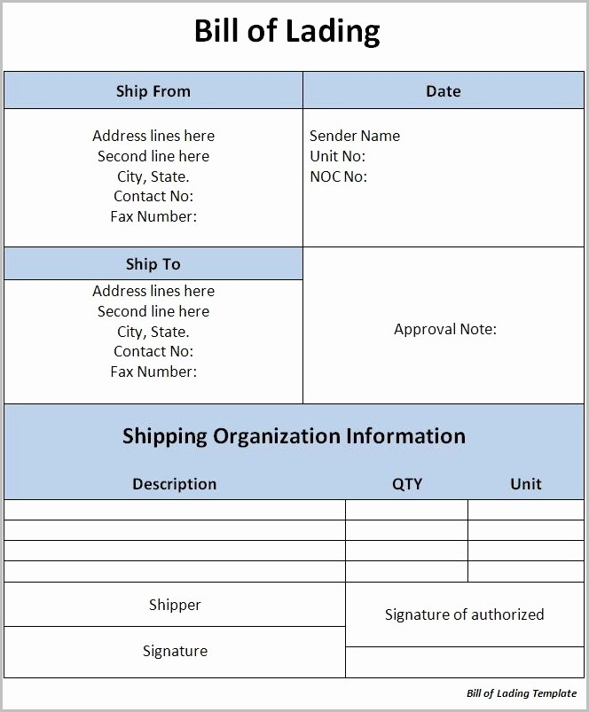 Bill Of Lading Format In Word