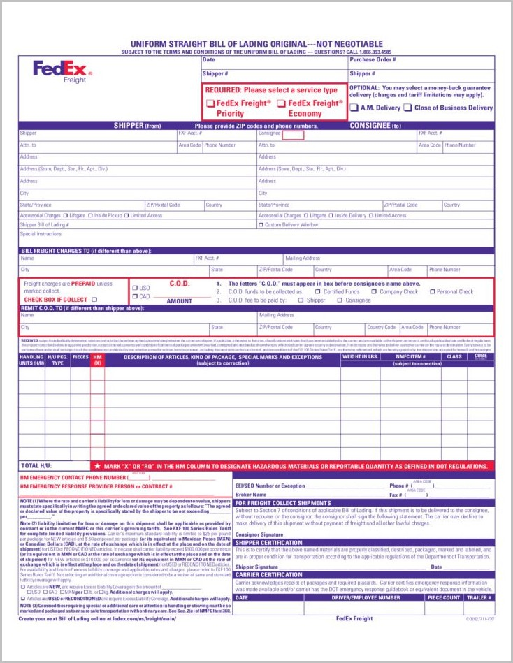 Bill Of Lading Template Fedex