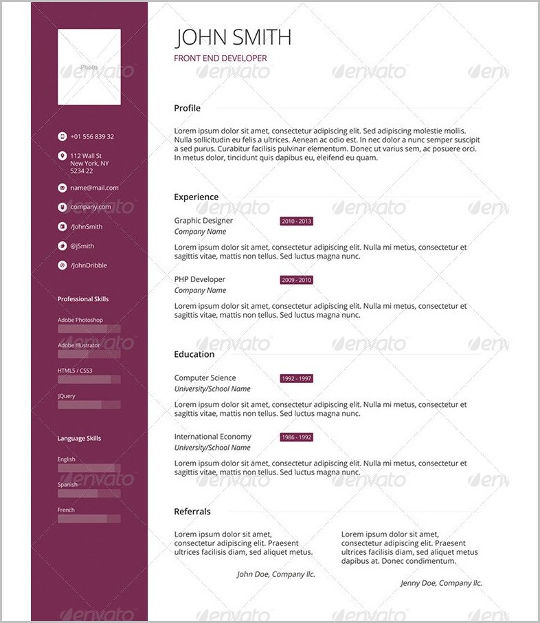 Professional Cv Template Download