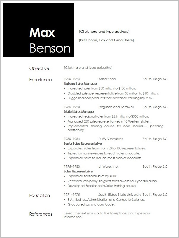 Professional Cv Template For Openoffice