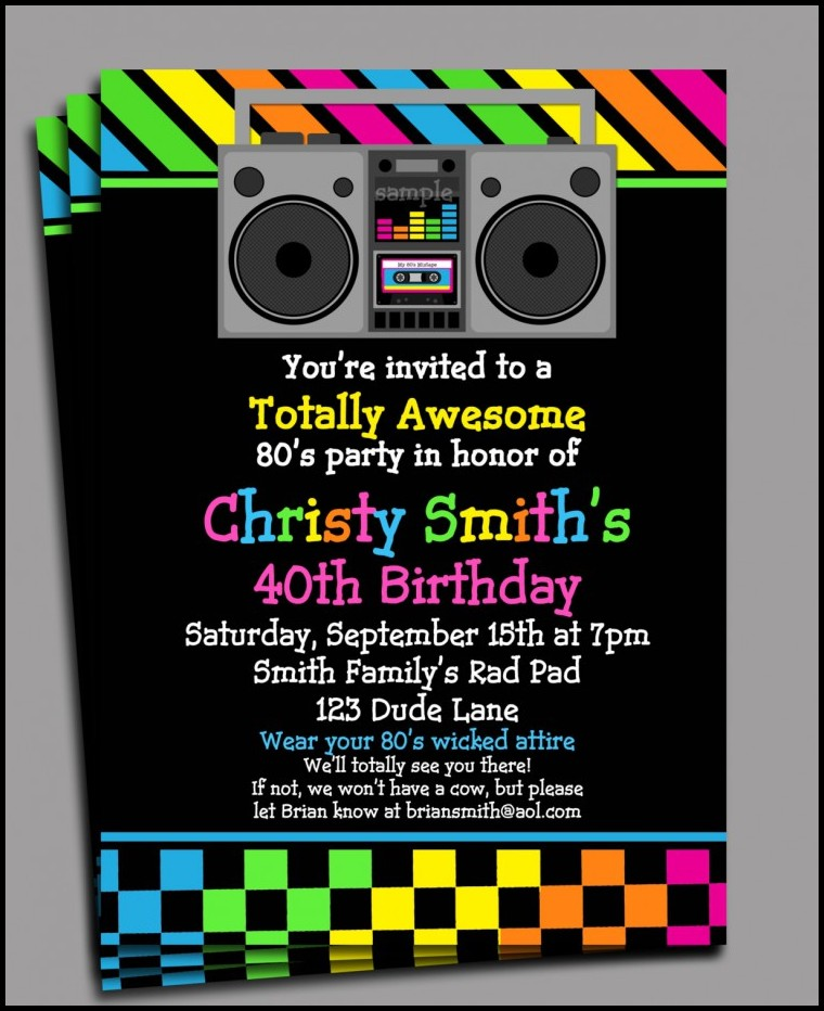 80s Birthday Invitation Templates Free