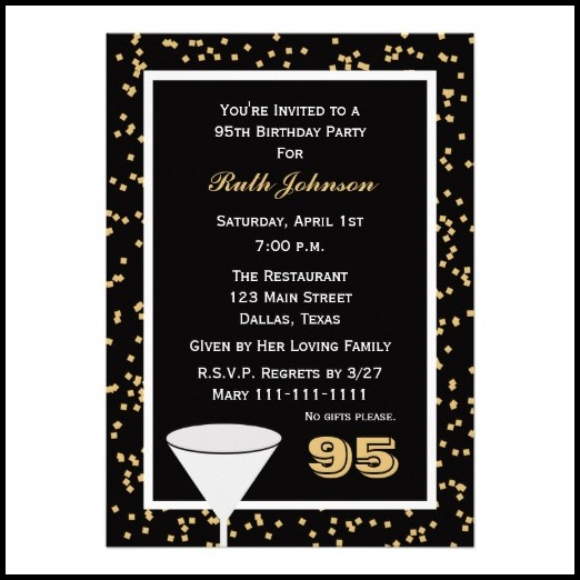 95th Birthday Invitation Templates