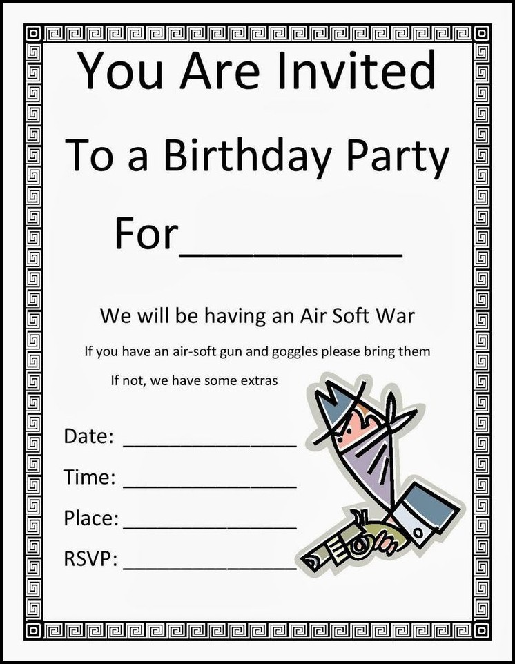 Birthday Invitation Inserts Templates