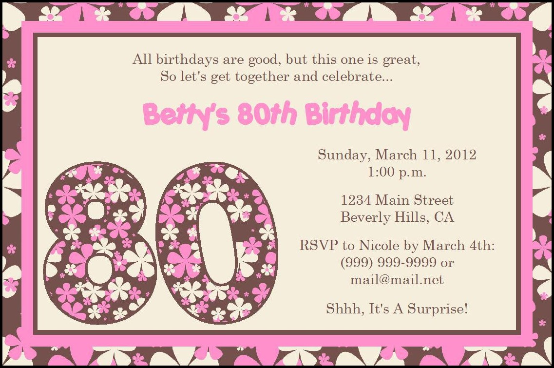 Birthday Invitation Layout Templates