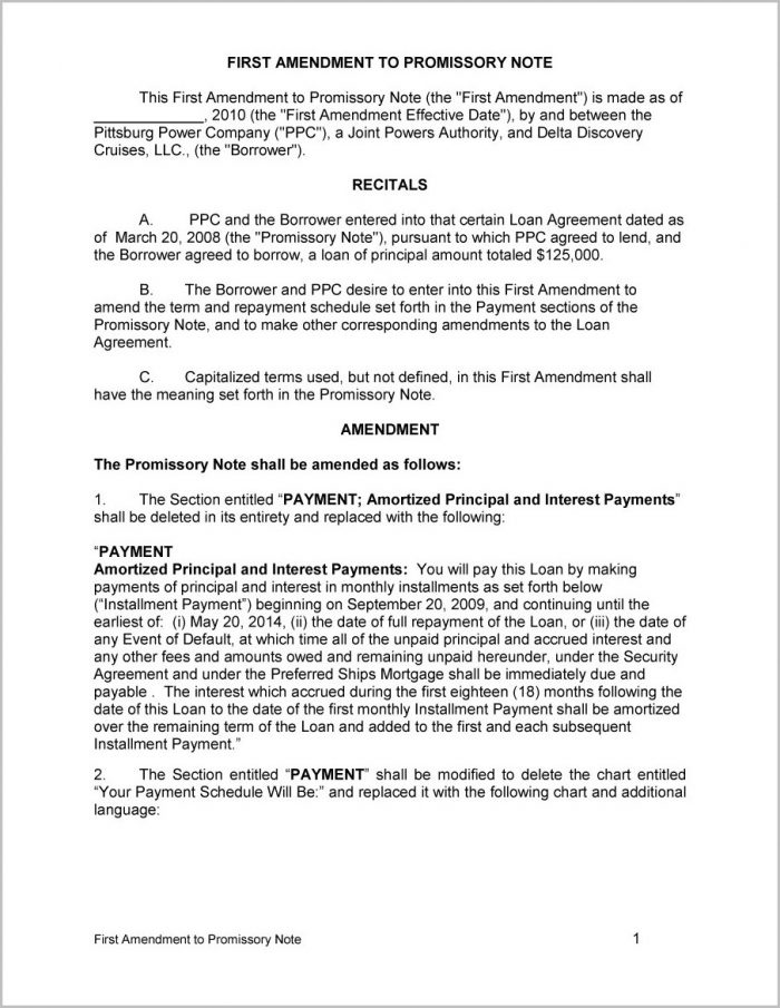 Promissory Note Contract Template