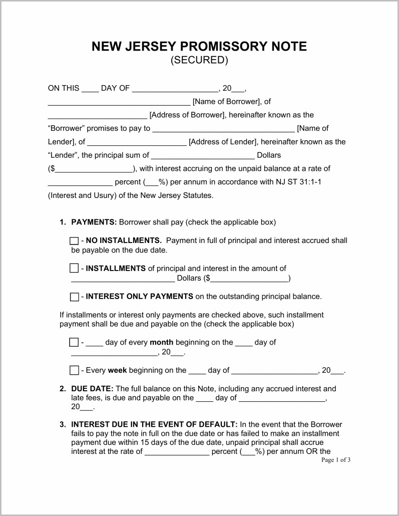 Promissory Note Template Nj