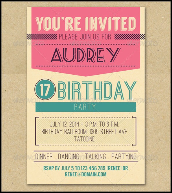 Retro Birthday Invitation Templates Free