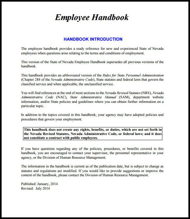 Employee Handbook Template Free Download