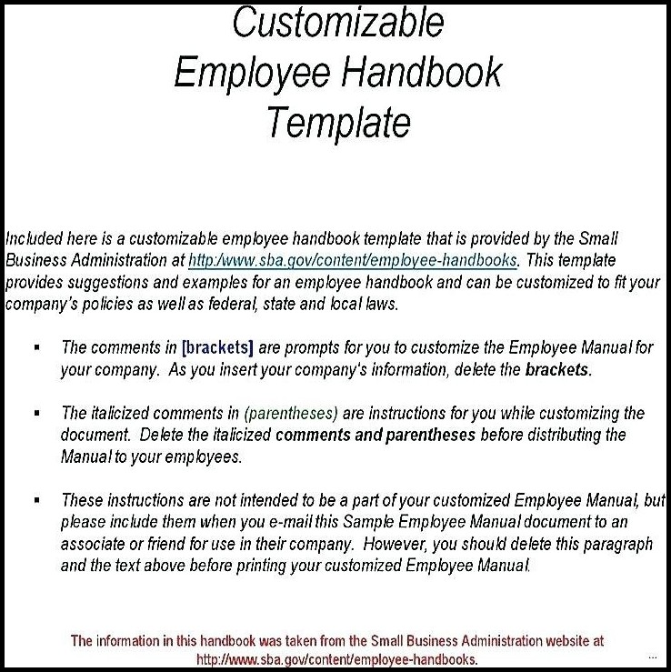 Employee Handbook Template Small Business