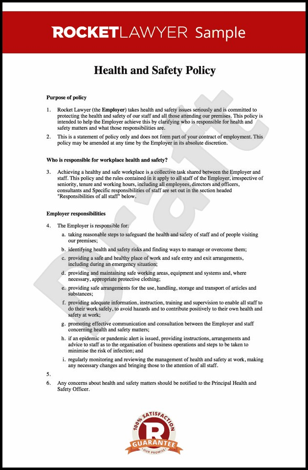 Employee Health And Safety Handbook Template