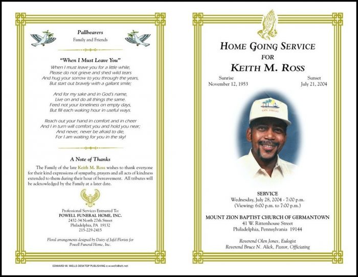 Free Funeral Program Template For Microsoft Publisher