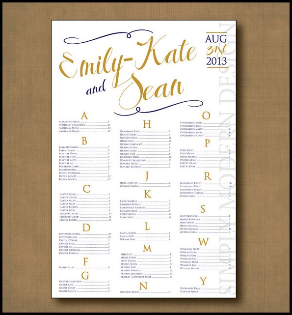 Free Wedding Seating Chart Template Download
