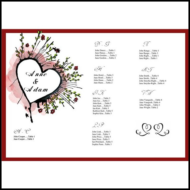 Wedding Seating Chart List Template