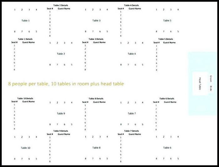 Wedding Seating Chart Template 8 Per Table