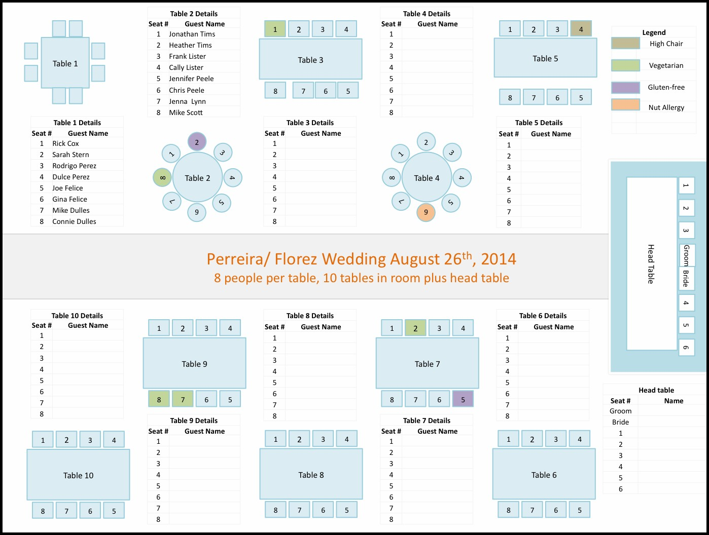 Wedding Seating Chart Template Powerpoint