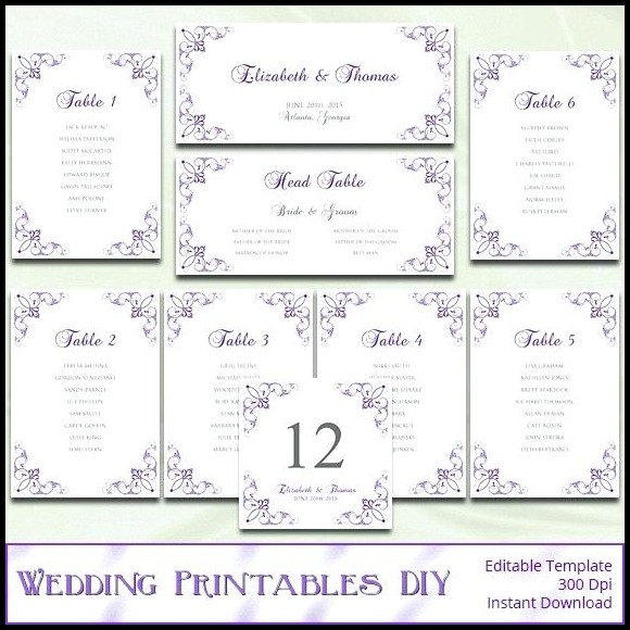 Wedding Seating Chart Template Word