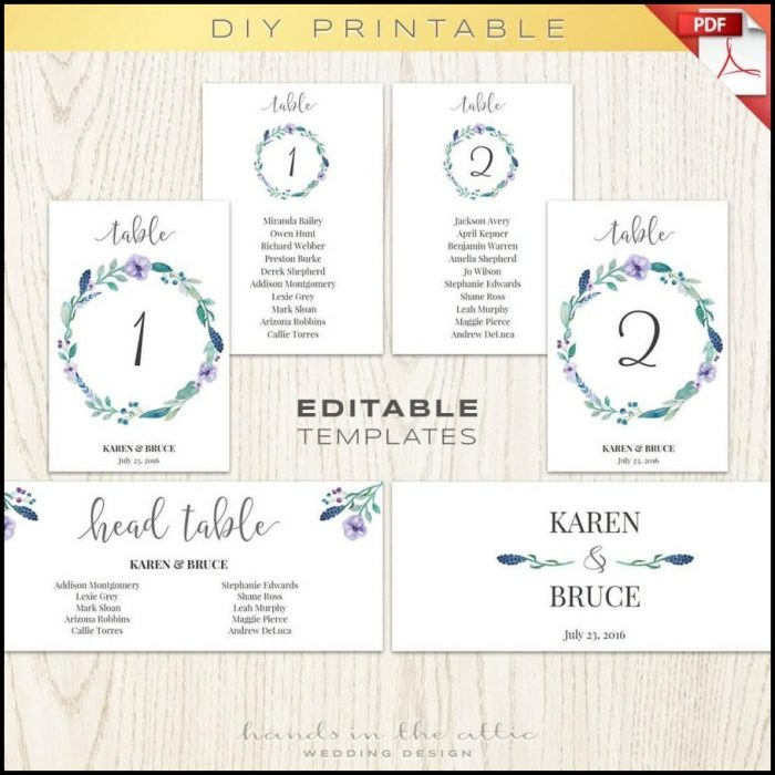 Wedding Table Seating Chart Template Free