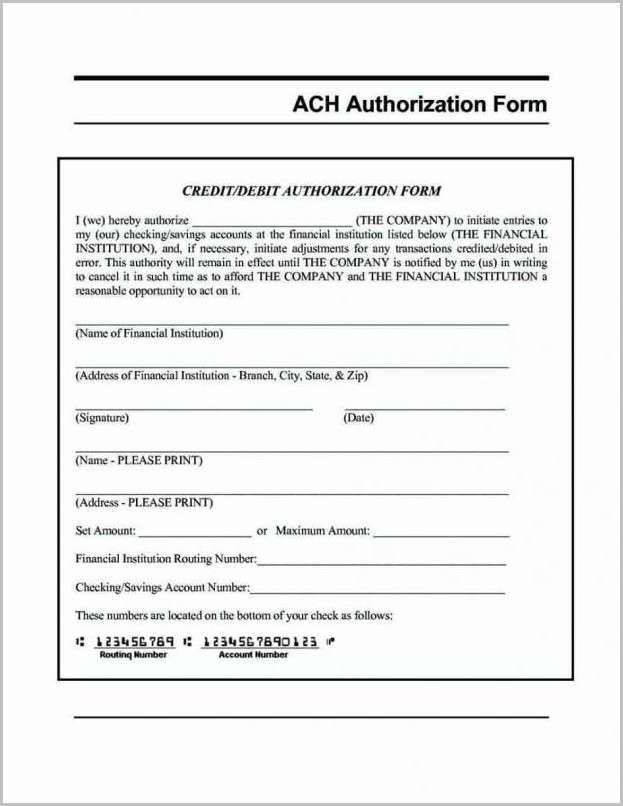 Ach Direct Deposit Form Template