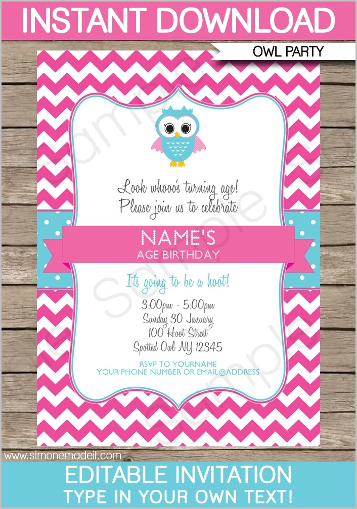 Owl Birthday Invitations Templates Free | Birthday Ideas | Pinterest Within Editable Birthday Invitations Templates Free