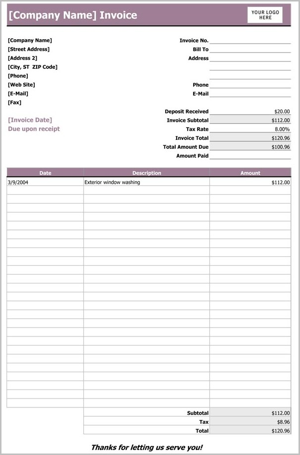 Building Contractor Invoice Template