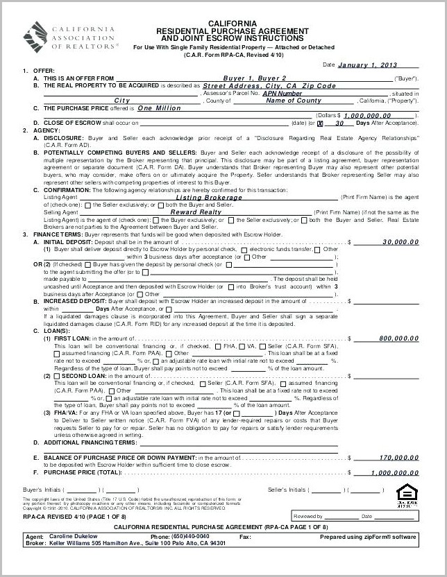 California Real Estate Contract Forms Free