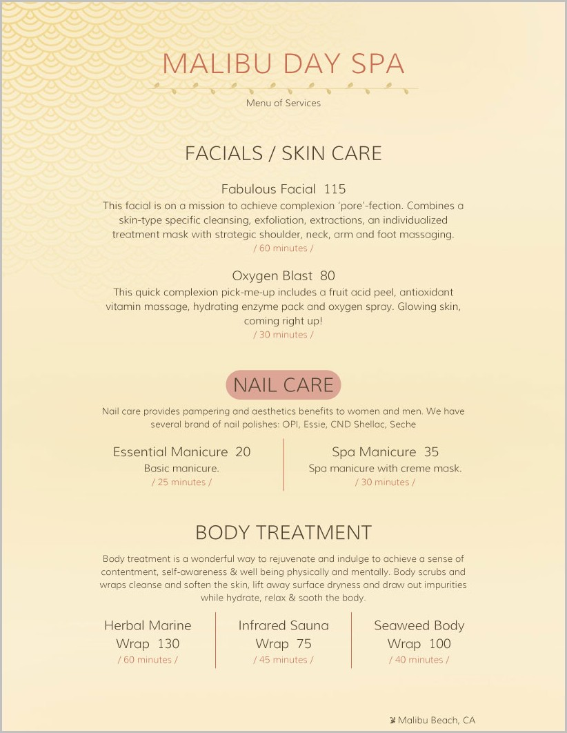 Day Spa Menu Template