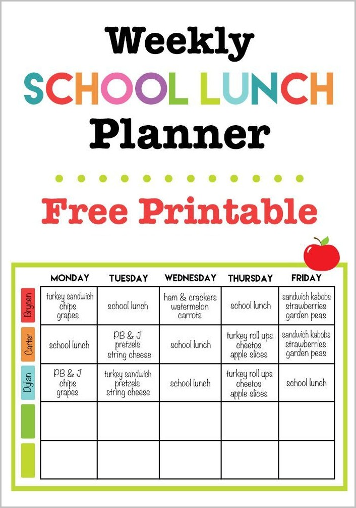 Elementary School Lunch Menu Template