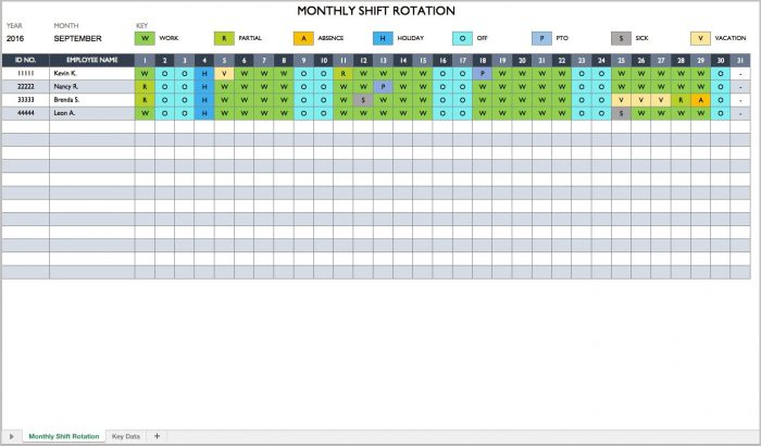 Employee Schedule Template For Excel