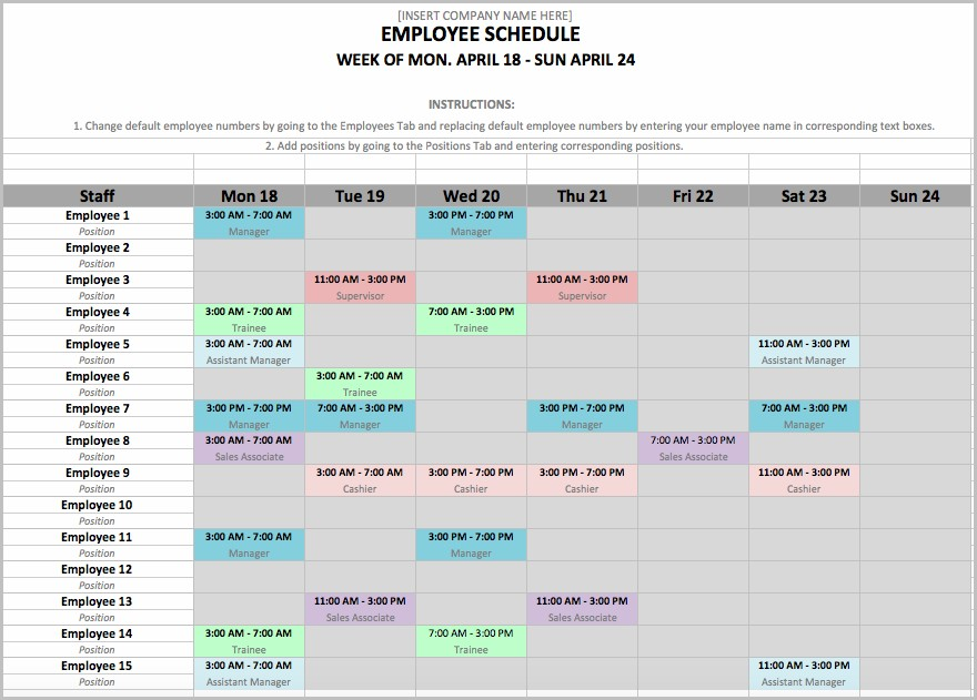 Employee Shift Schedule Excel Template Download