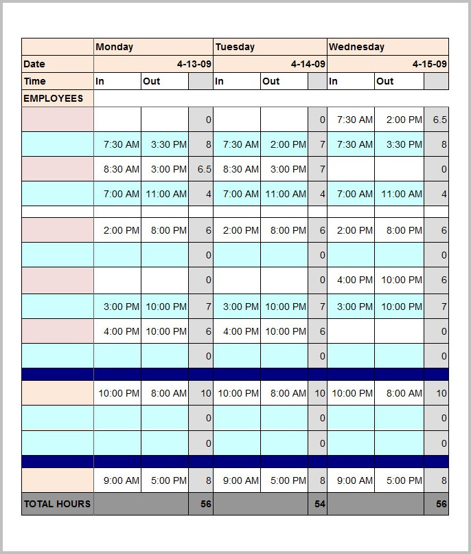 Employee Time Schedule Template Excel