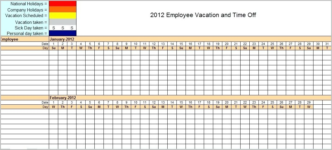 Employee Vacation Planner Template Excel 2018