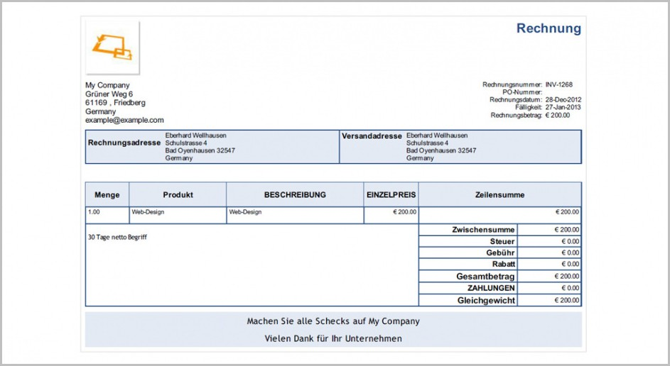 Freelance Invoice Template Germany