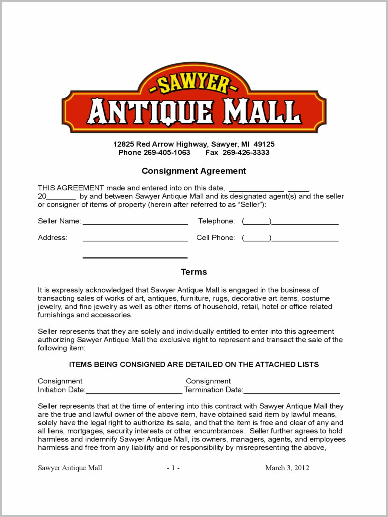 Furniture Consignment Contract Template