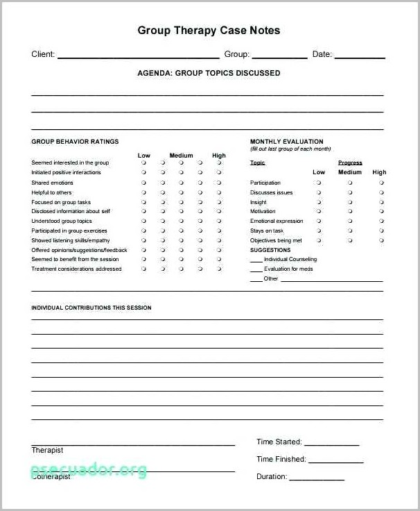 Group Psychotherapy Progress Note Template