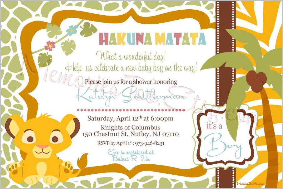 Lion King Baby Shower Invitation Template