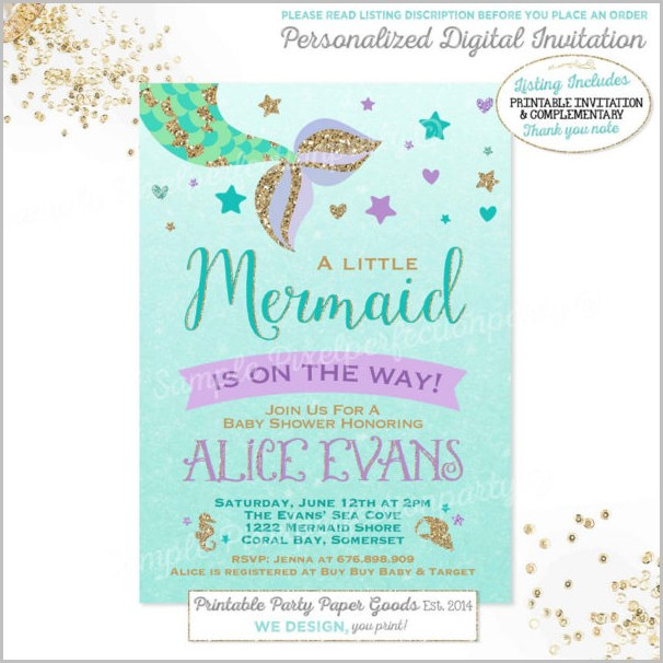 Mermaid Baby Shower Invitation Template Free
