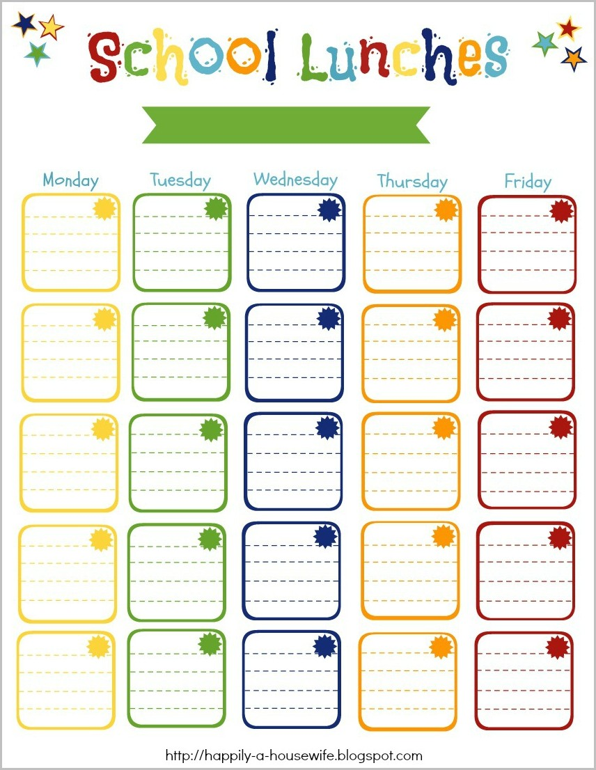 Monthly School Lunch Menu Template