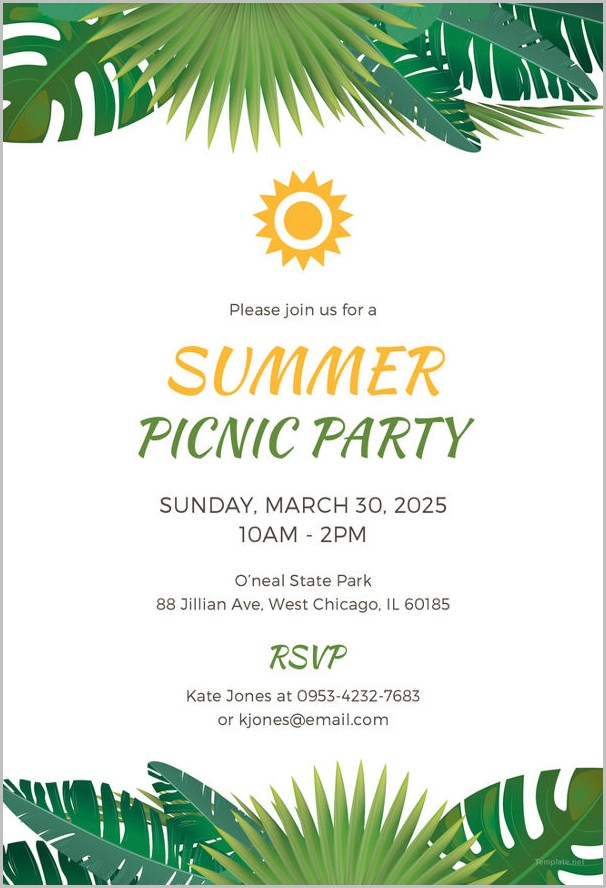 Picnic Themed Invitation Template