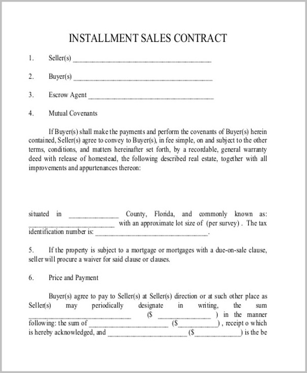 Real Estate Installment Sales Contract Template
