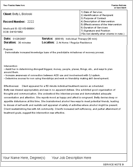 Sample Psychotherapy Progress Notes Template