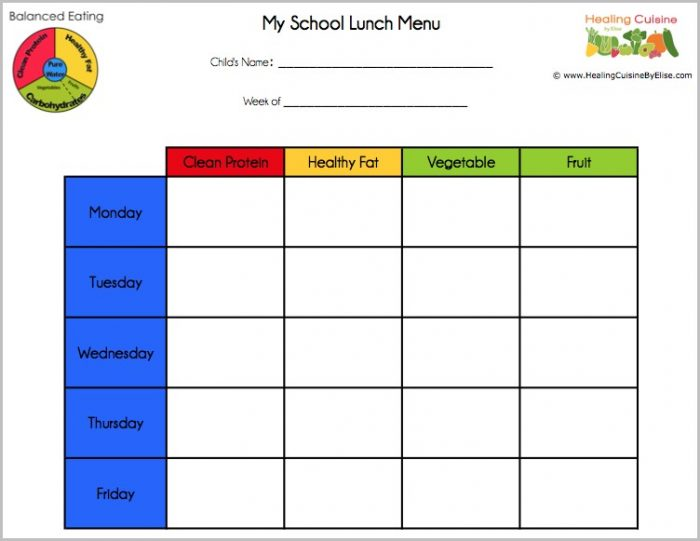 School Lunch Menu Template Free